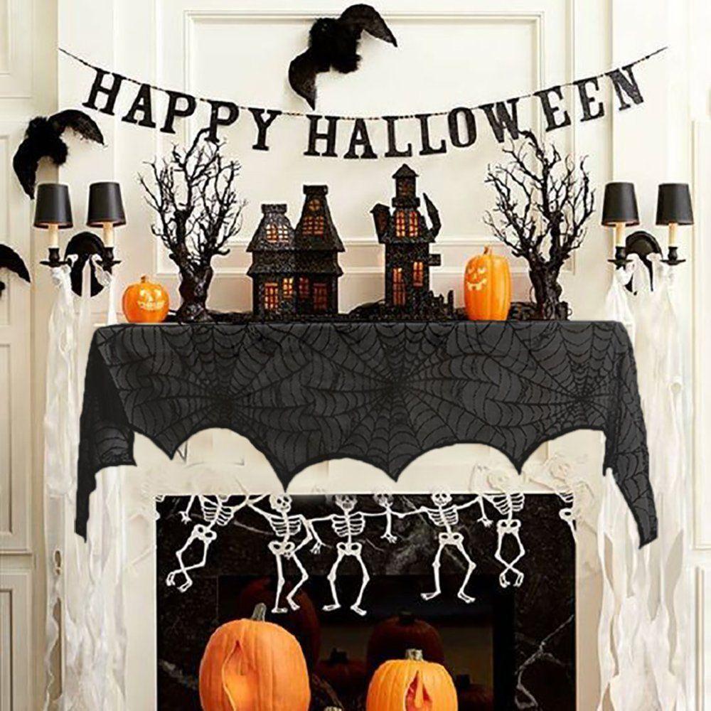 Dekoraktion Fur Halloween Spinnennetz Dekorationen Recesky 240 43cm Halloween Schwarze Spitze Spinnwebe Hallow Halloween Kamin Halloweendeko Kamin Dekor