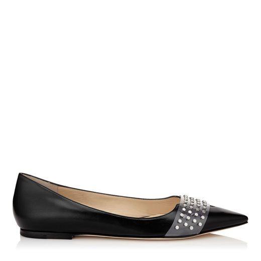 Hazel Flat Black Shiny Textured Leather