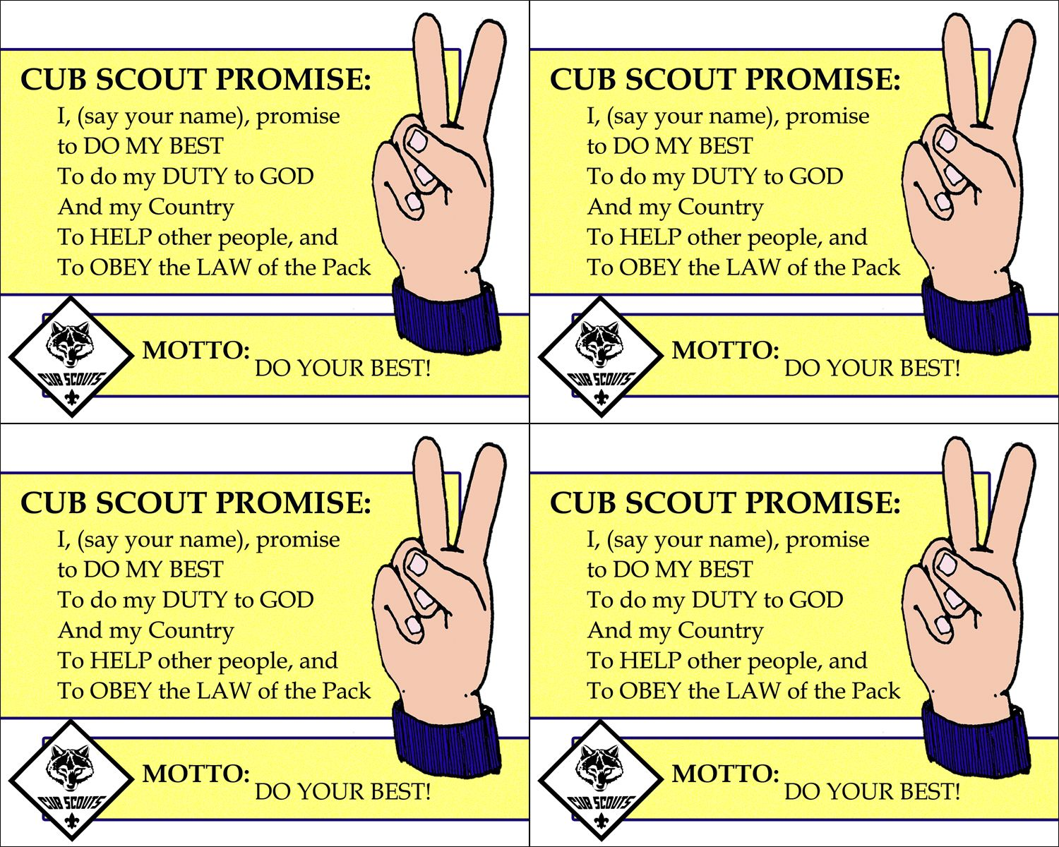 graphic about Cub Scout Motto in Sign Language Printable identified as Pin upon Cub Scouts