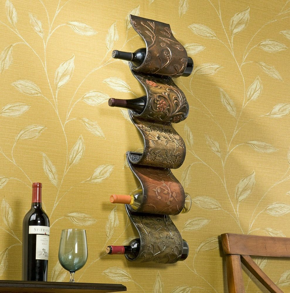Florenz Wall Mount Wine Rack Sculpture Decor Storage 5 Bottles Metal ...