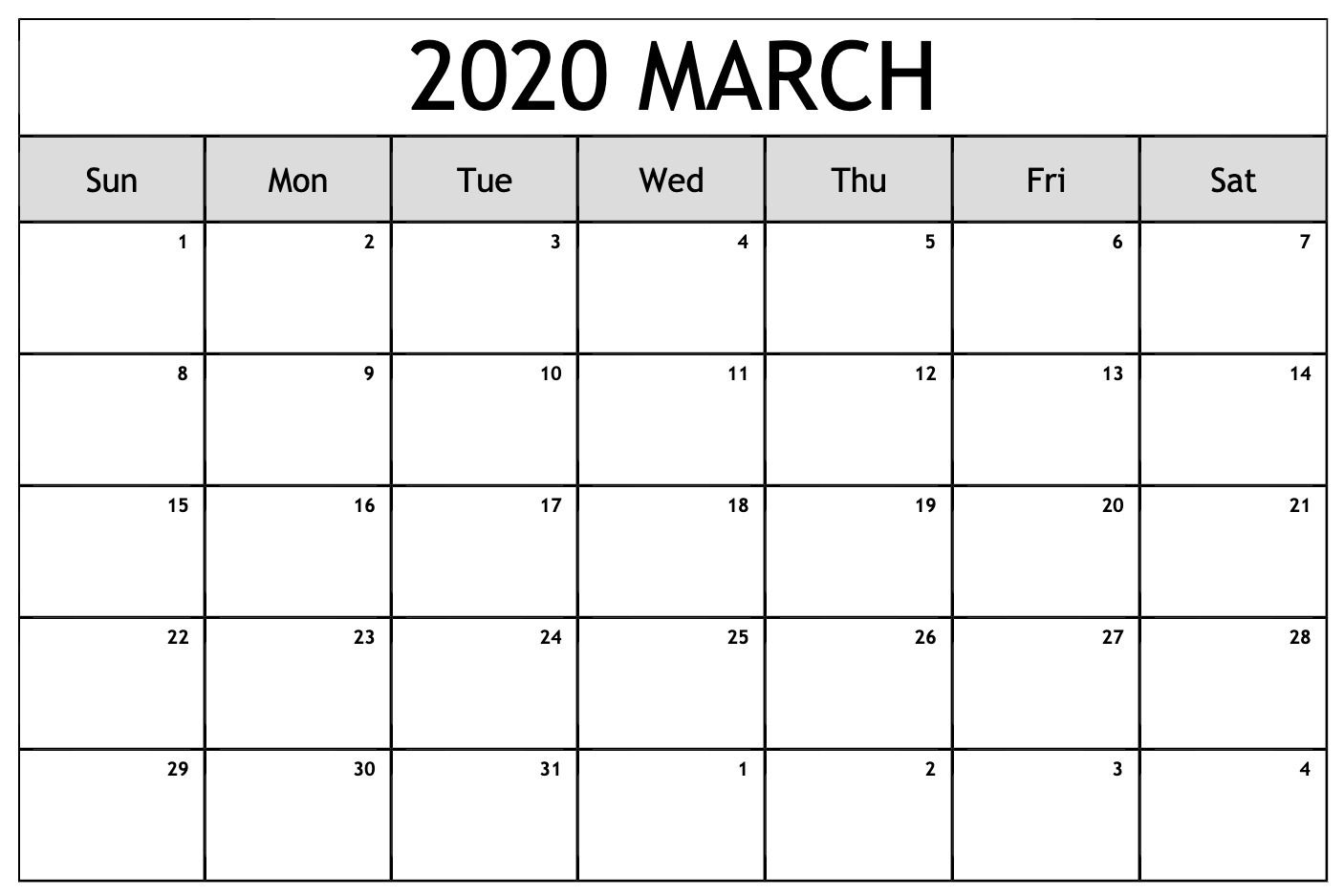 March Calendar Printable Template Word Excel