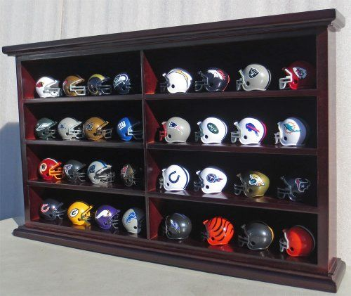 32 Pocket Pro Mini Helmet Display Case Cabinet Holders Rack W Uv Protection Panel Mh07 Ma Displaygifts Htt Mini Football Helmet Display Case Football Helmets