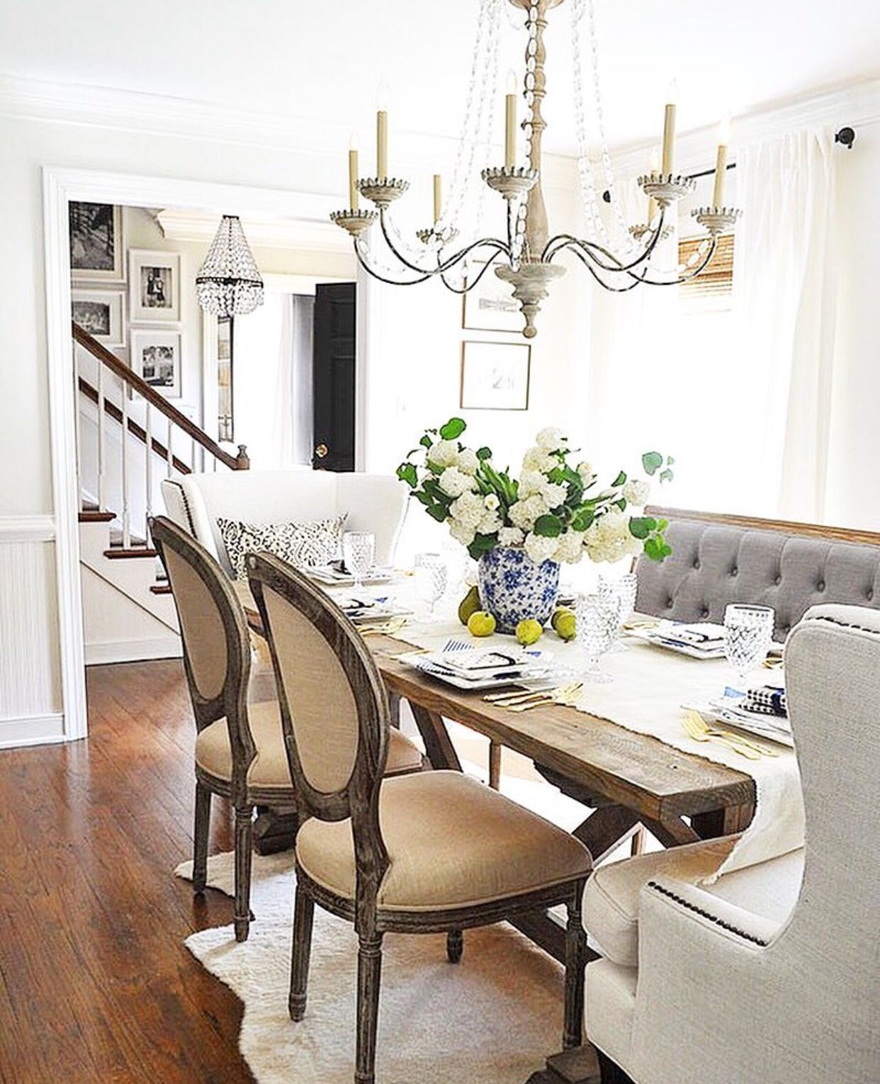 Dining Room With Bench Cream Cozy Rooms Farmhouse