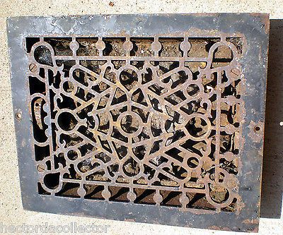 Sale Antique Cast Iron Louvered Floor Register Heat Vent Chic 12 X10 Shabby Chic Antique Cast Iron Vintage Hardware Antiques