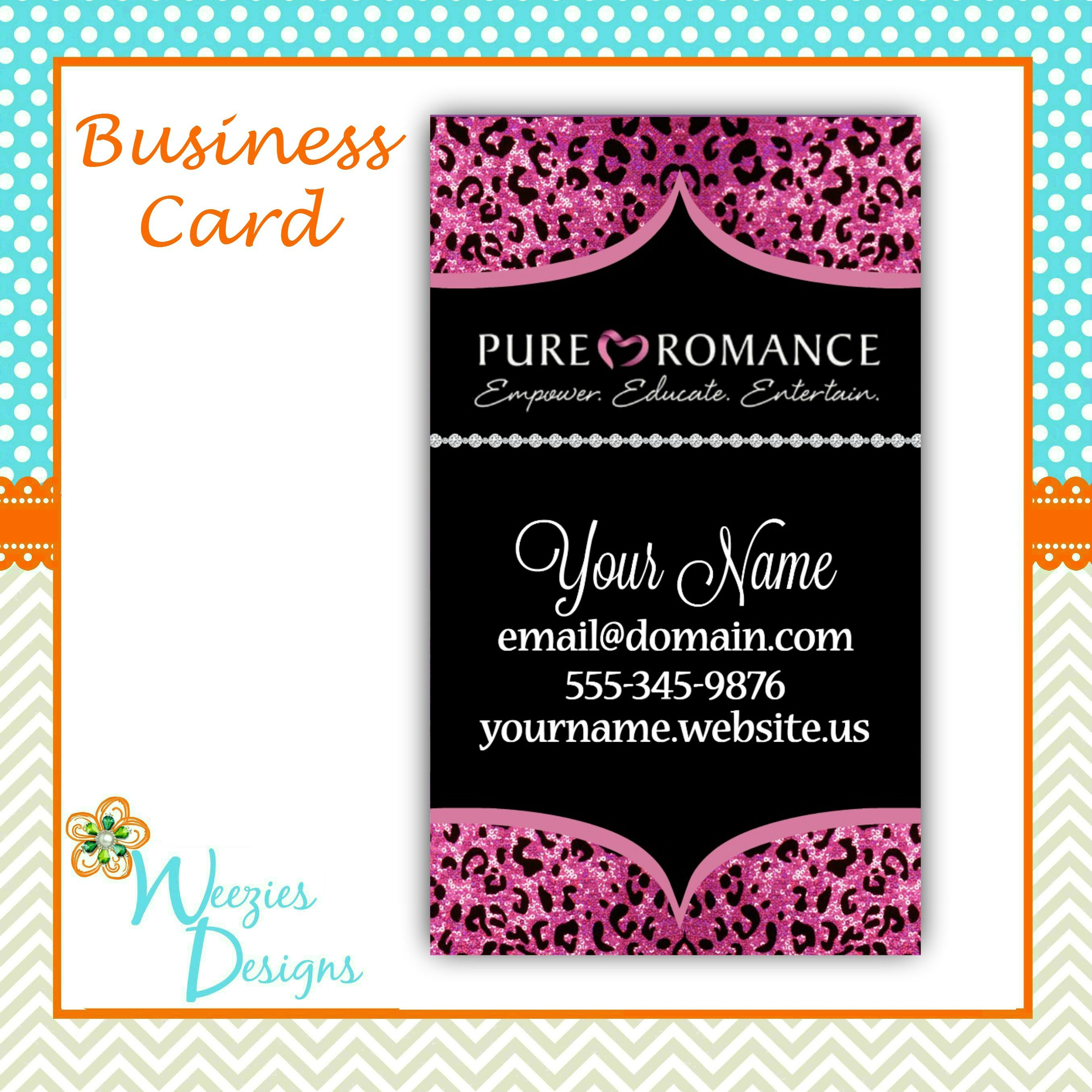 Pure Romance business card design! Sparkly pink cheetah ...