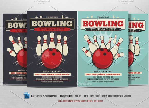 Bowling Tournament Flyer by DesignWorkz on @creativemarket - bowling flyer template