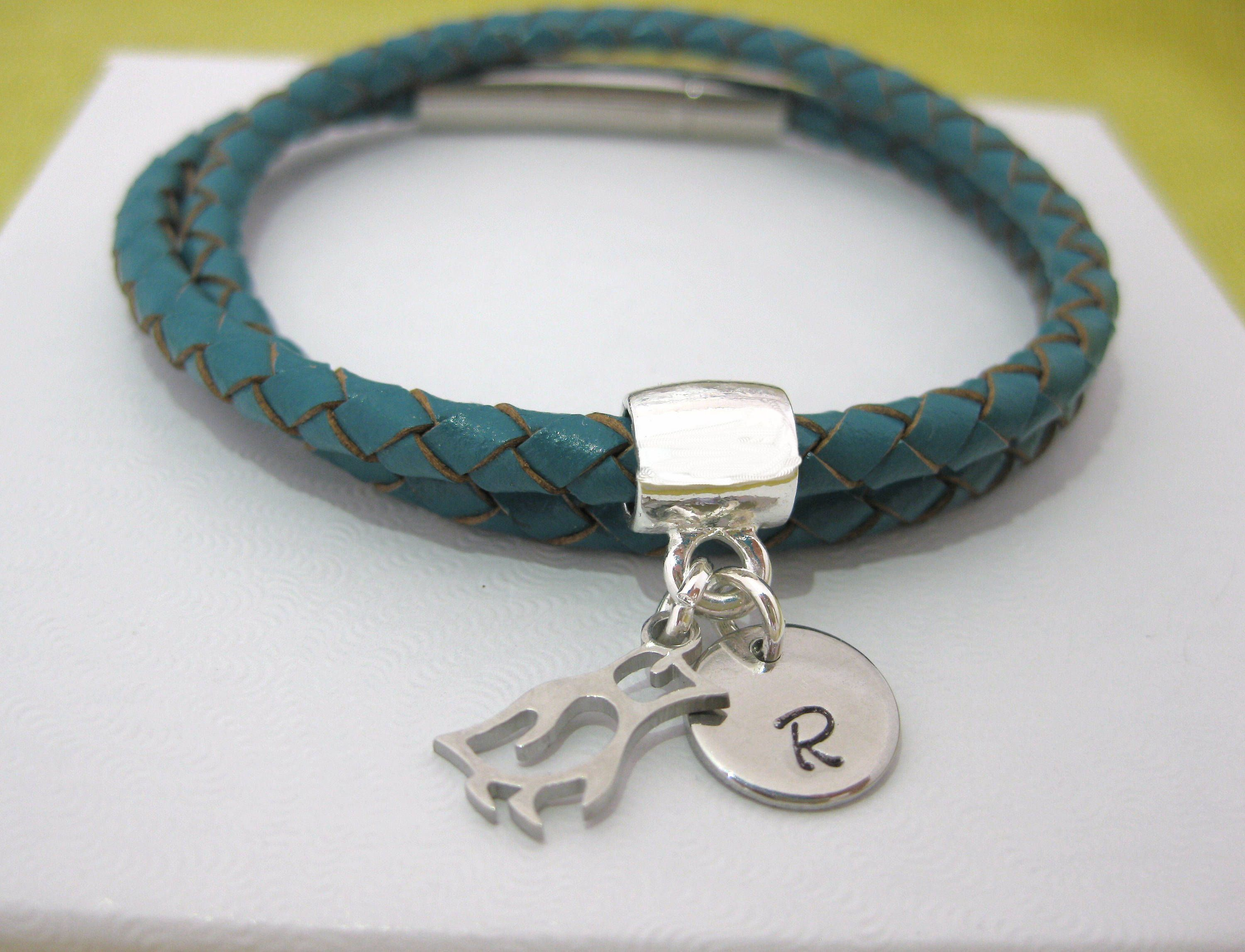 Personalised 4mm Braided Leather Teal Double Wrap Bracelet Initial Charm Magnetic Clasp Uk Er By