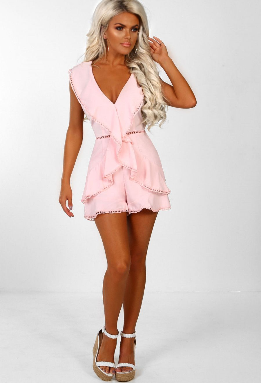ee35ccf0a2 Forever Young Pink Crochet Frill Detail Cross Back Playsuit in 2018 ...