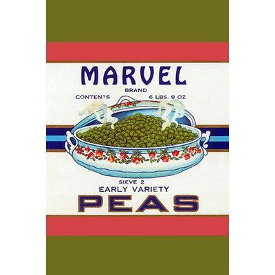 """Buyenlarge 'Marvel Brand Early Variety Peas' Vintage Advertisement Size: 36"""" H x 24"""" W x 1.5"""" D"""