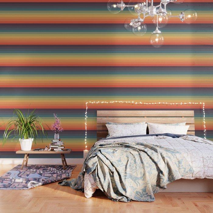 Colorful Retro Striped Rainbow Wallpaper Wallpaper Peel And Stick Wallpaper Rainbow Wallpaper