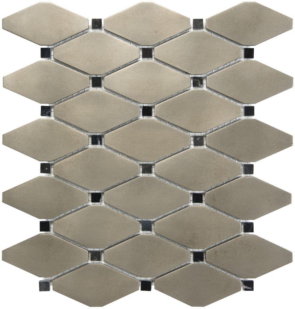79 176 Brushed Nickel Clipped Diamond Mosaics Mosaic Wall Tiles Diamond Mosaic Commercial Interior Design