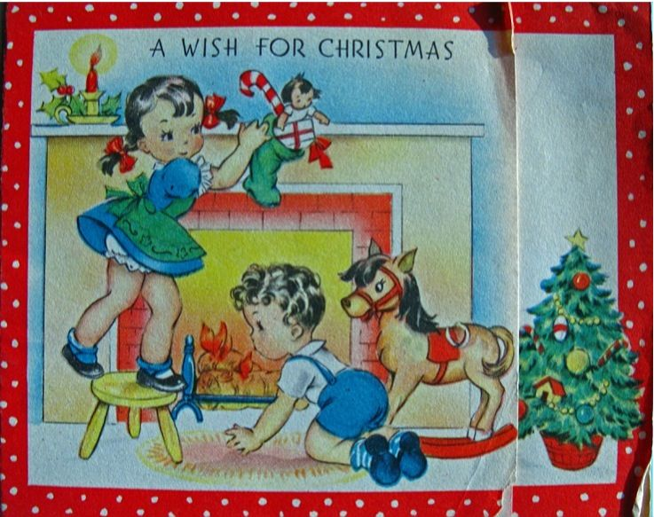 A Wish For Christmas Vintage Christmas Cards Vintage Greeting Cards Retro Christmas