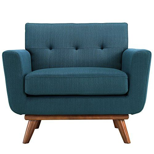 Modway Engage MidCentury Modern Upholstered Fabric Armchair In Azure - butacas modernas