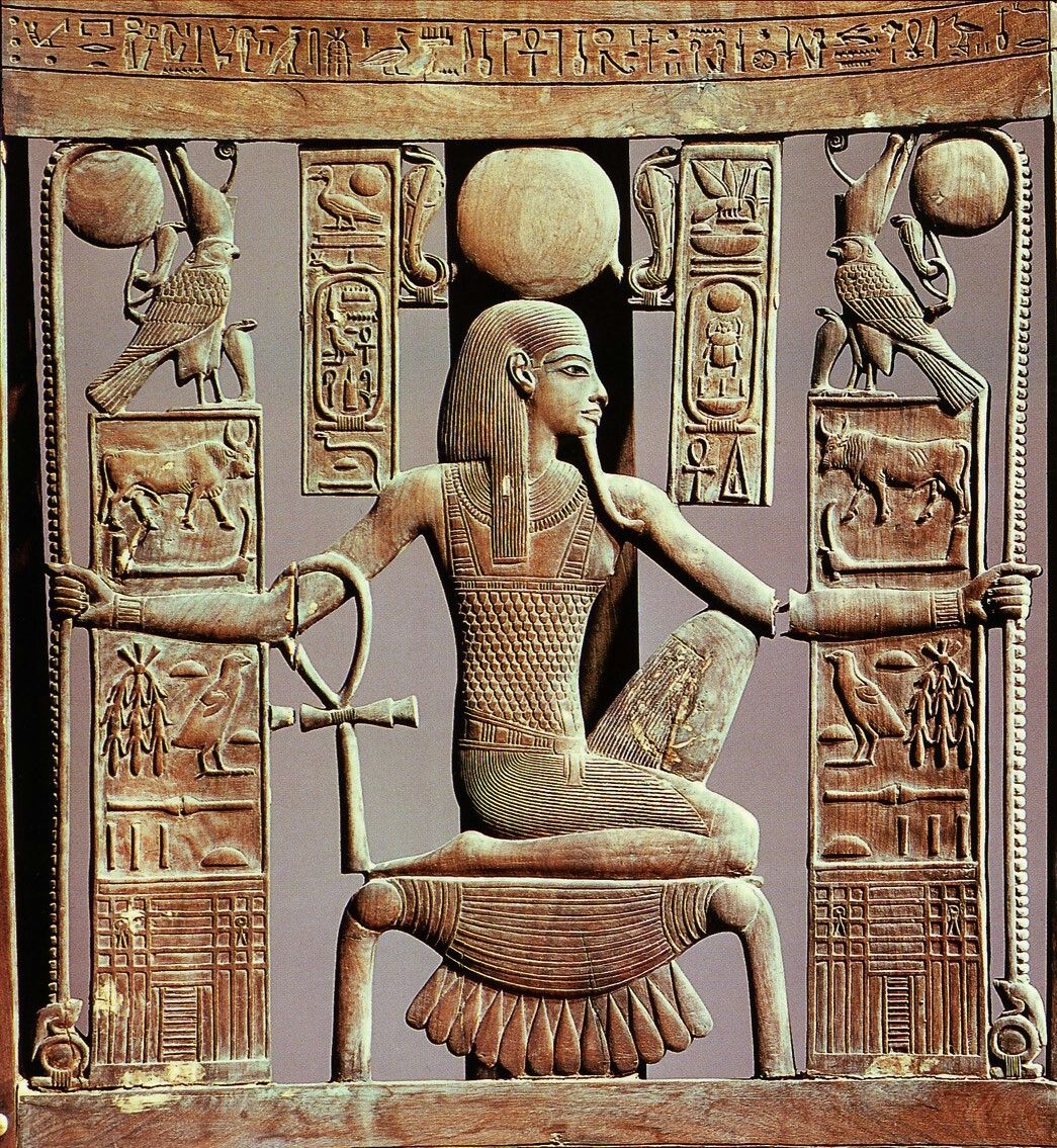The God Of Eternity Heh Kneeling On The Hieroglyphic For