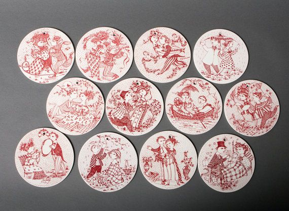 bjorn wiinblad plate platters collection red all by northvintage