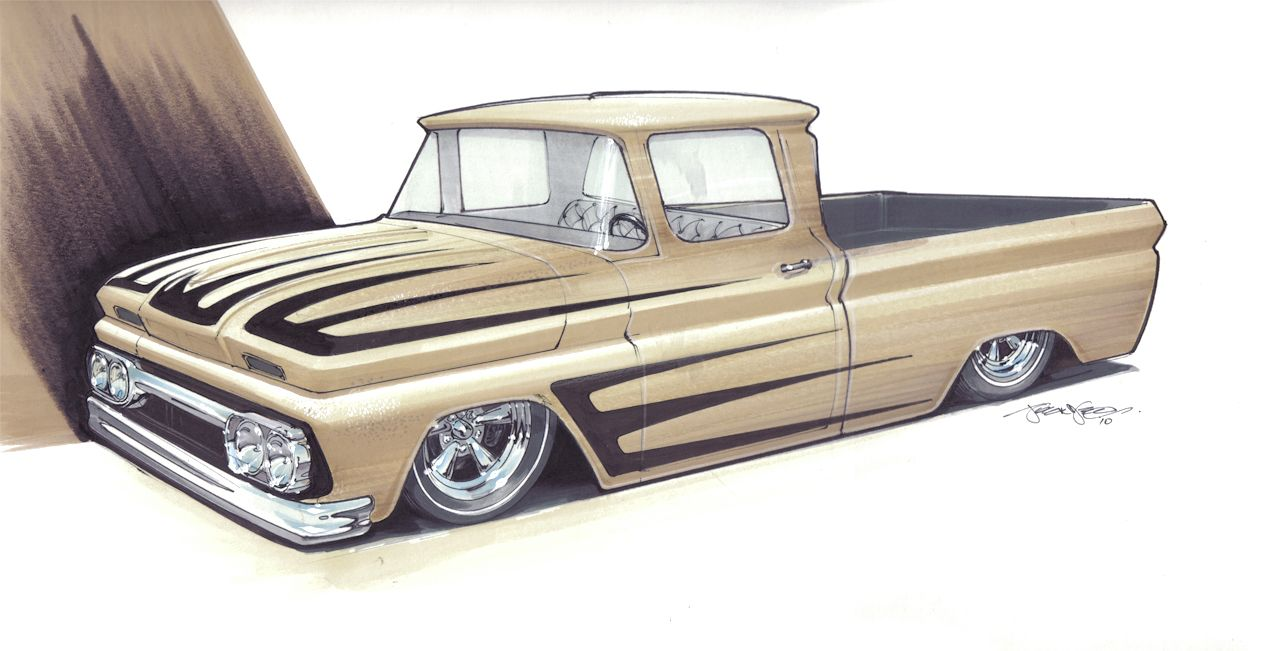 Concept Car Drawings Kooks Custom Chevy Truck Rendering By 1955 Ford F100 Art 1320 Designs