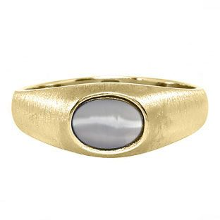 East-West Oval Cut Grey Cat Eye Yellow Gold Pinky Ring For Men Available Exclusively at Gemologica.com