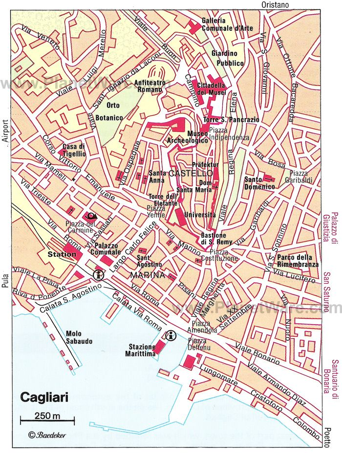 Cagliari Map Tourist Attractions Portugal and Spain Pinterest