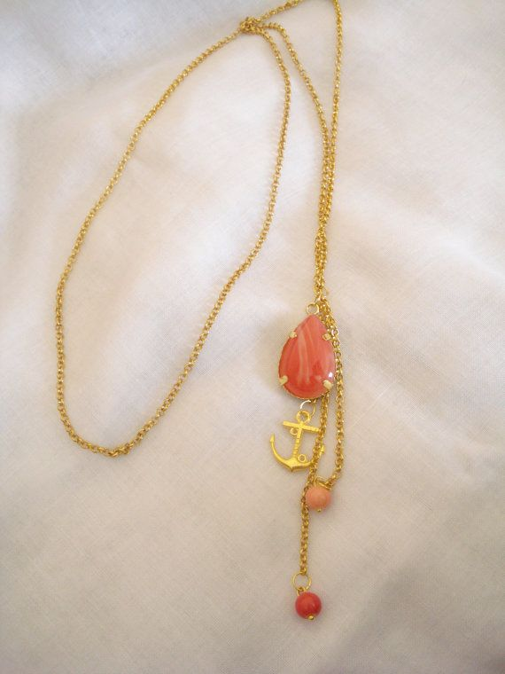 Nautical gold chain lariat necklace Coral necklace Gold anchor