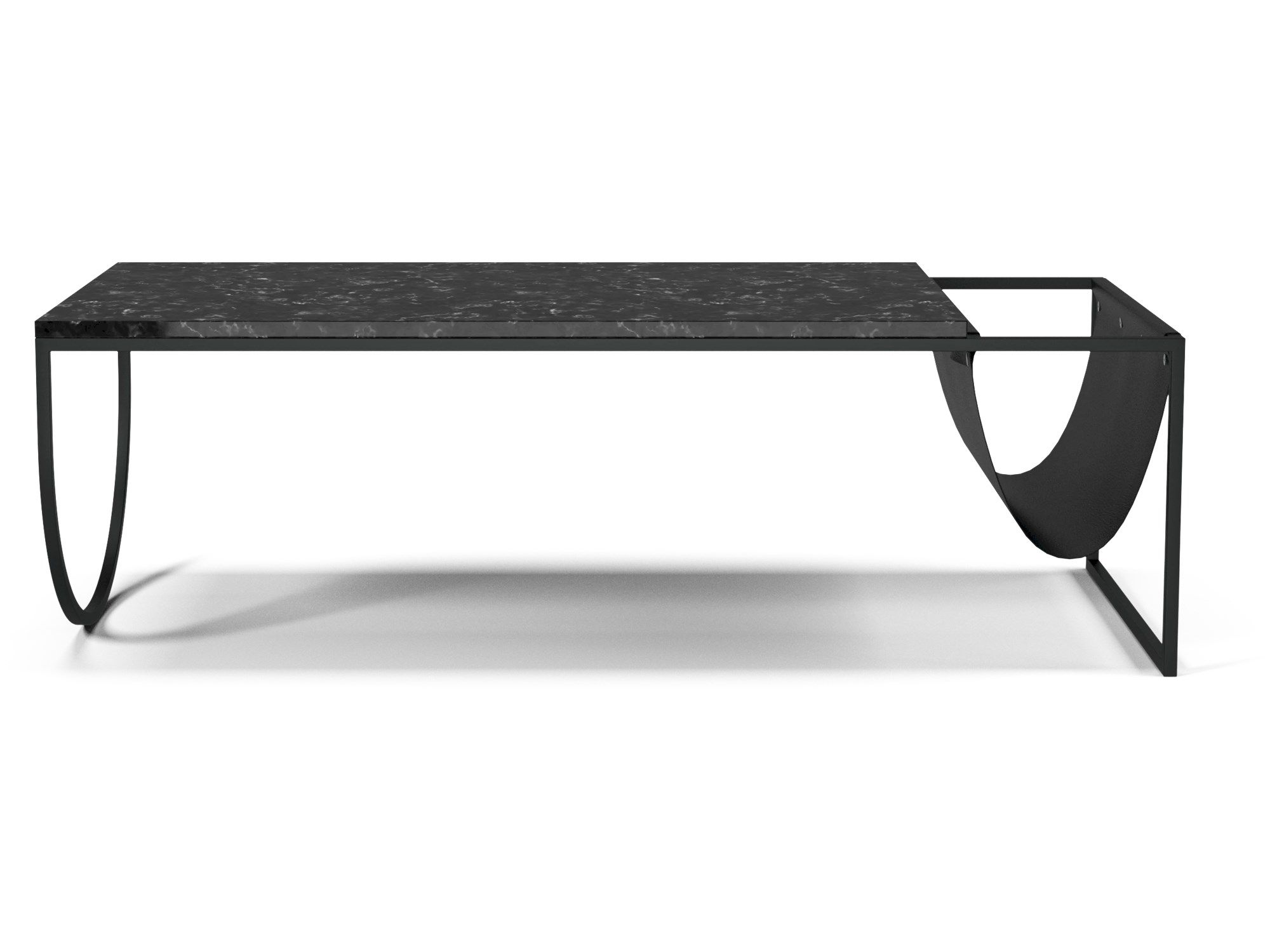 A Marble Top Combined With A Steel Frame And A Leather Pocket The Coffee Table Coffee Table Black Marble Possible Combinations