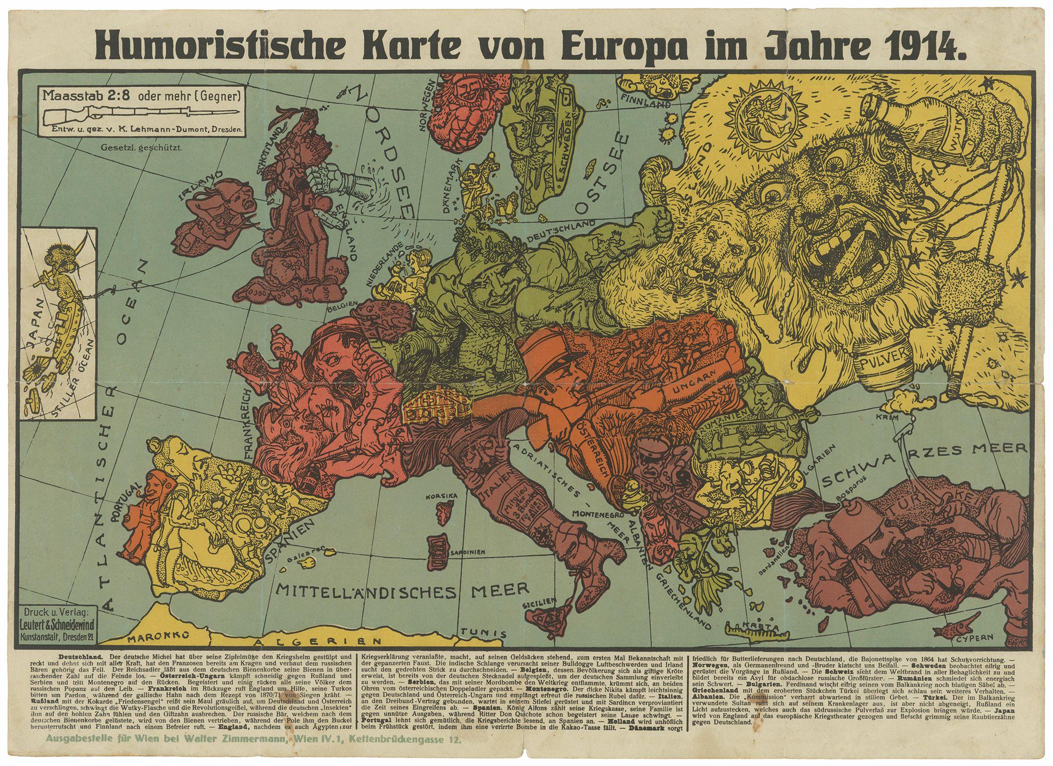 Karte Von Europa 1914.Humoristische Karte Europa 1914 Masterpieces Map Europe