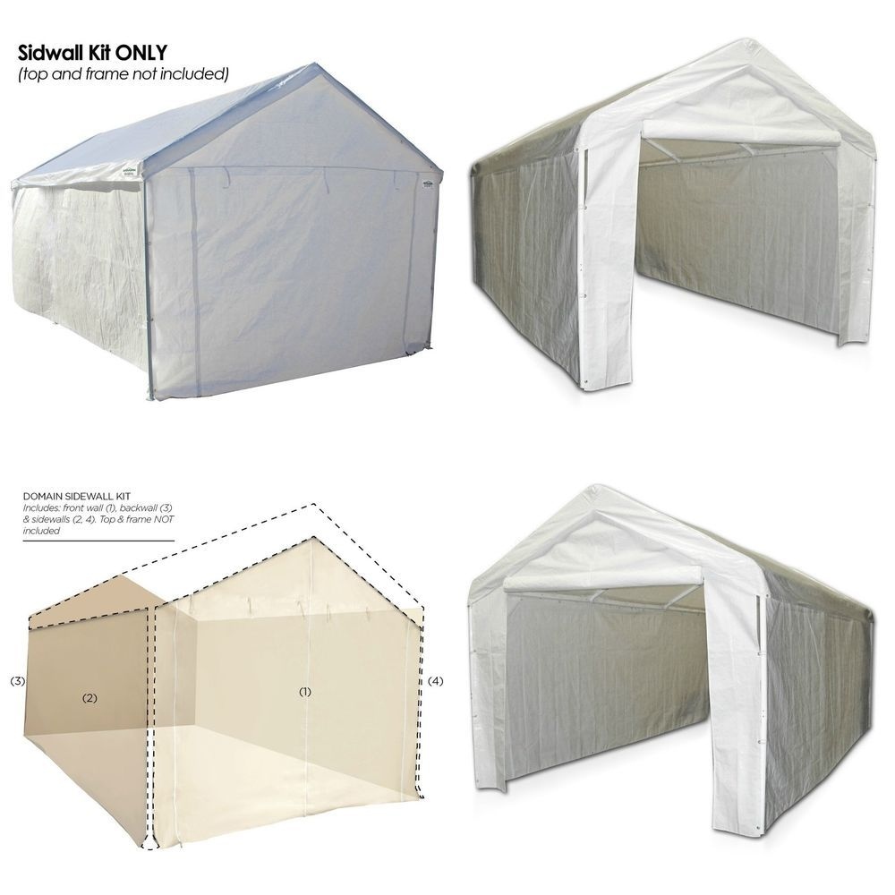 Garage Canopy Side Wall Kit 10 X 20 Tent Portable Car Shelter Carport Cover Port Garagecanopyusa Carport Covers Garage Canopies Car Shelter