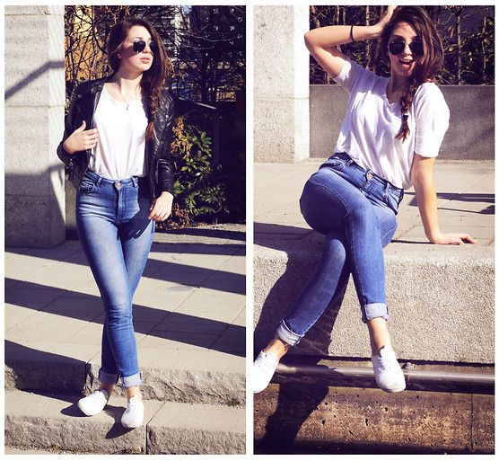 high-waisted jeans, slouchy white tee