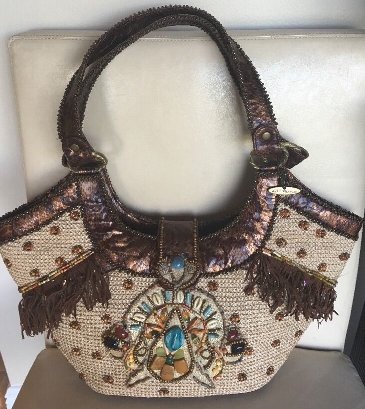 Mary Frances Beaded Large Tote -Faux Snake  Fringe Leather Trim #MaryFrances #TotesShoppers