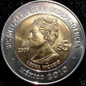 Moneda De 5 Pesos Conmemorativa Bicentenario De La Independencia Leona Vicario 2009 Monedas De Plata Monedas Monedas Coleccionables