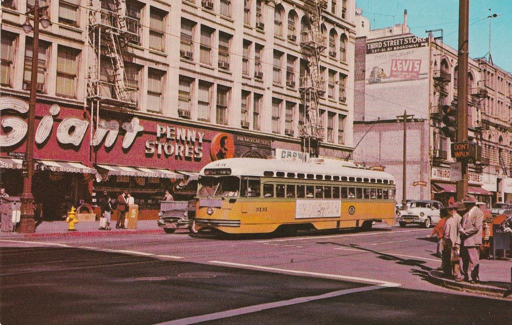 Vintage Postcard Los Angeles Street Car And Giant Penny Store 1962 Los Angeles History Downtown Los Angeles Los Angeles