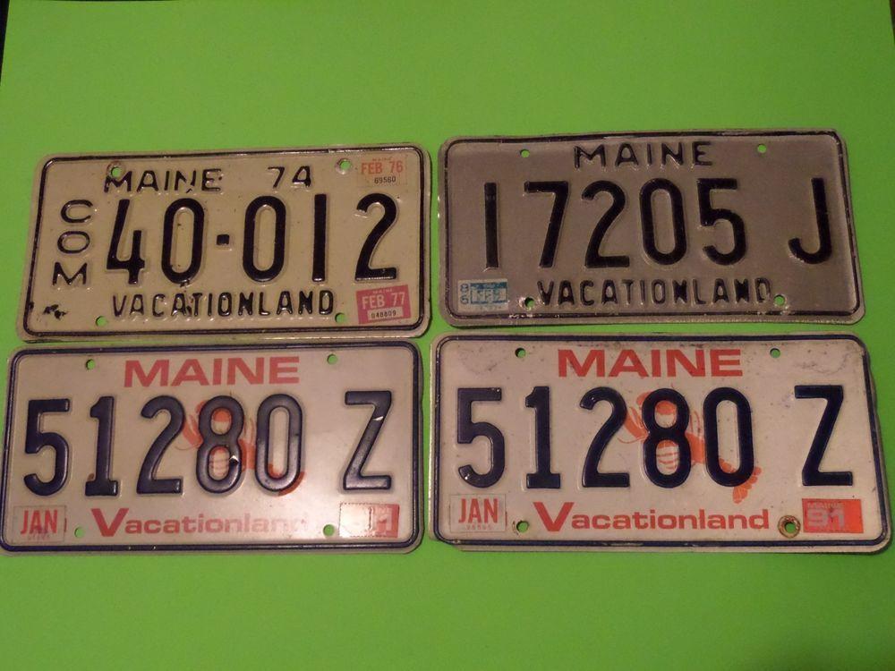 4 lot maine license plates 17205 j com 40012 1974 pair