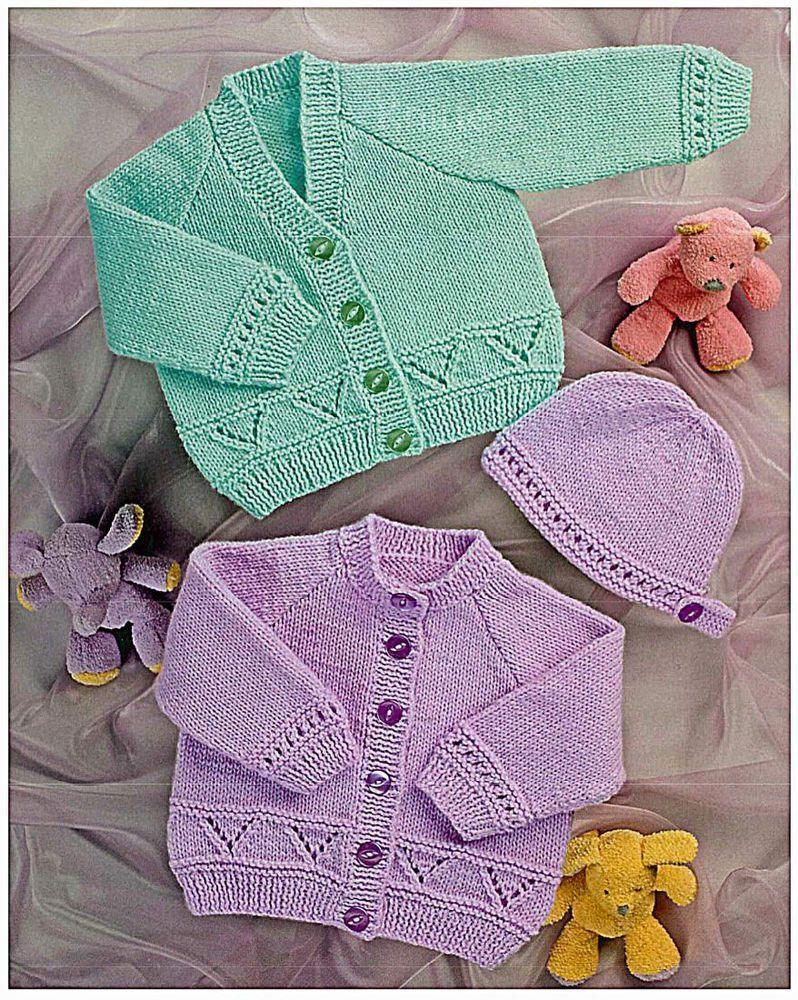 4d70188e79b599 Knitting Pattern For Baby V   Round Neck Cardigans Inc. Hat - Easy to Knit ( DK)