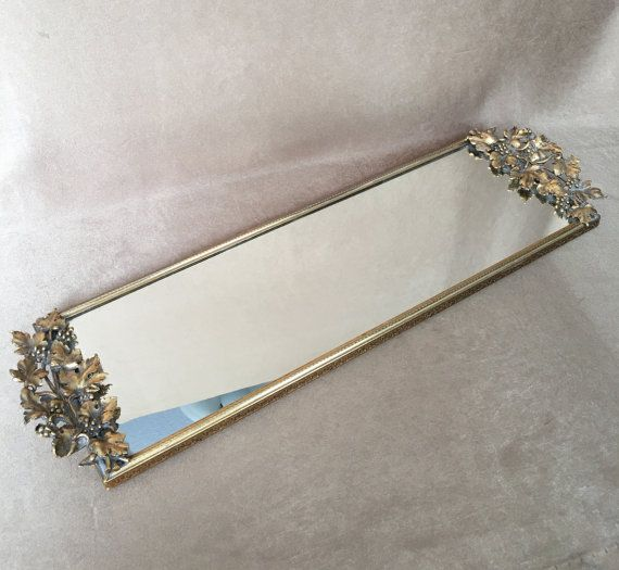 Ormolu Mirror Tray Gold Vanity Tray Large Rectangular Cocktail Vintage Hollywood Filigree Vanity Retro Chic Deco Mirror Tray Vanity Tray Retro Chic Decor