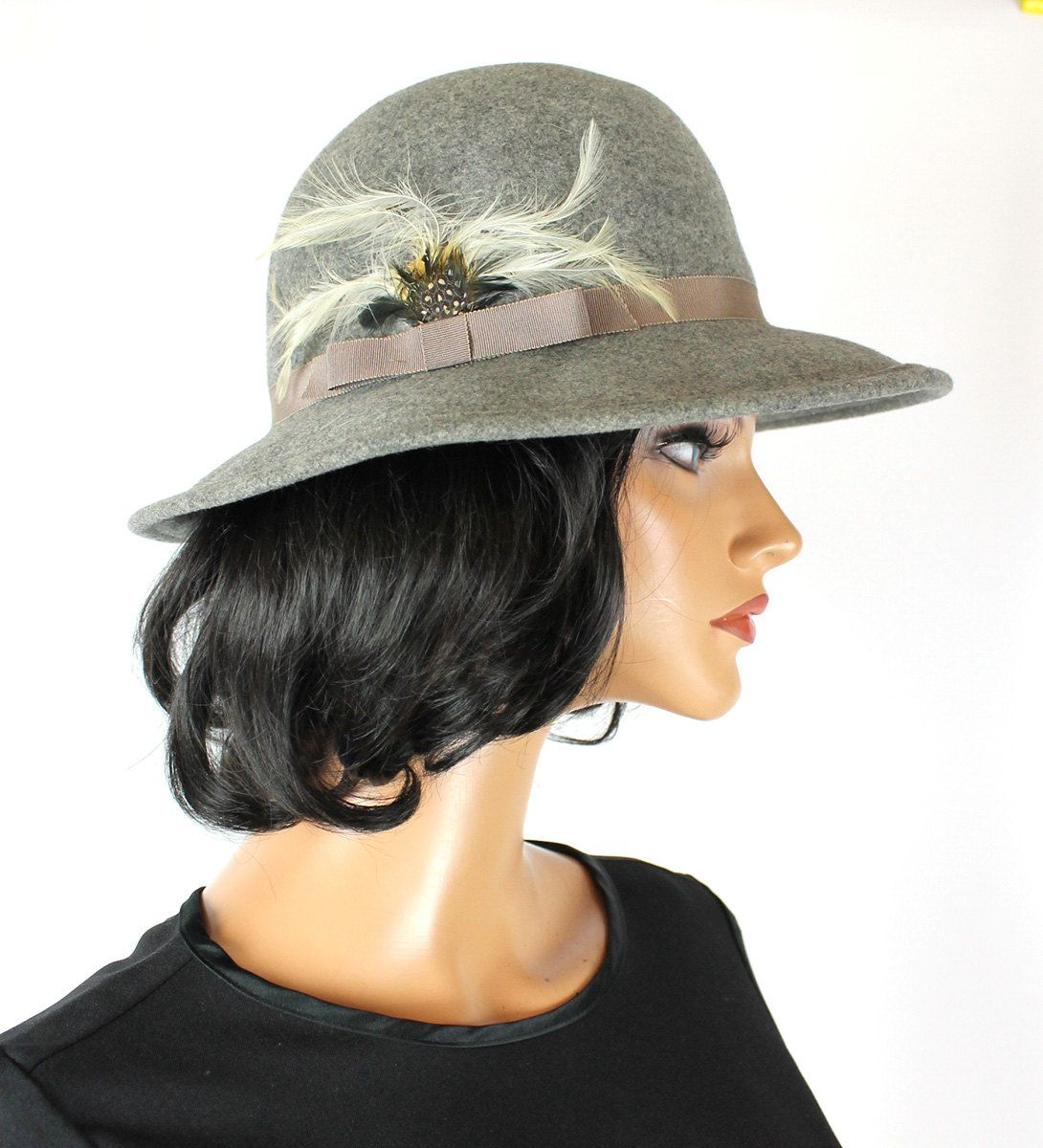Vintage Wool Hat 7 1 8 M 70s Heather Gray Felt White Feathers Wide Brim  Floppy Free US Shipping by HepCatClothes on Etsy fd7e64d7a9a7