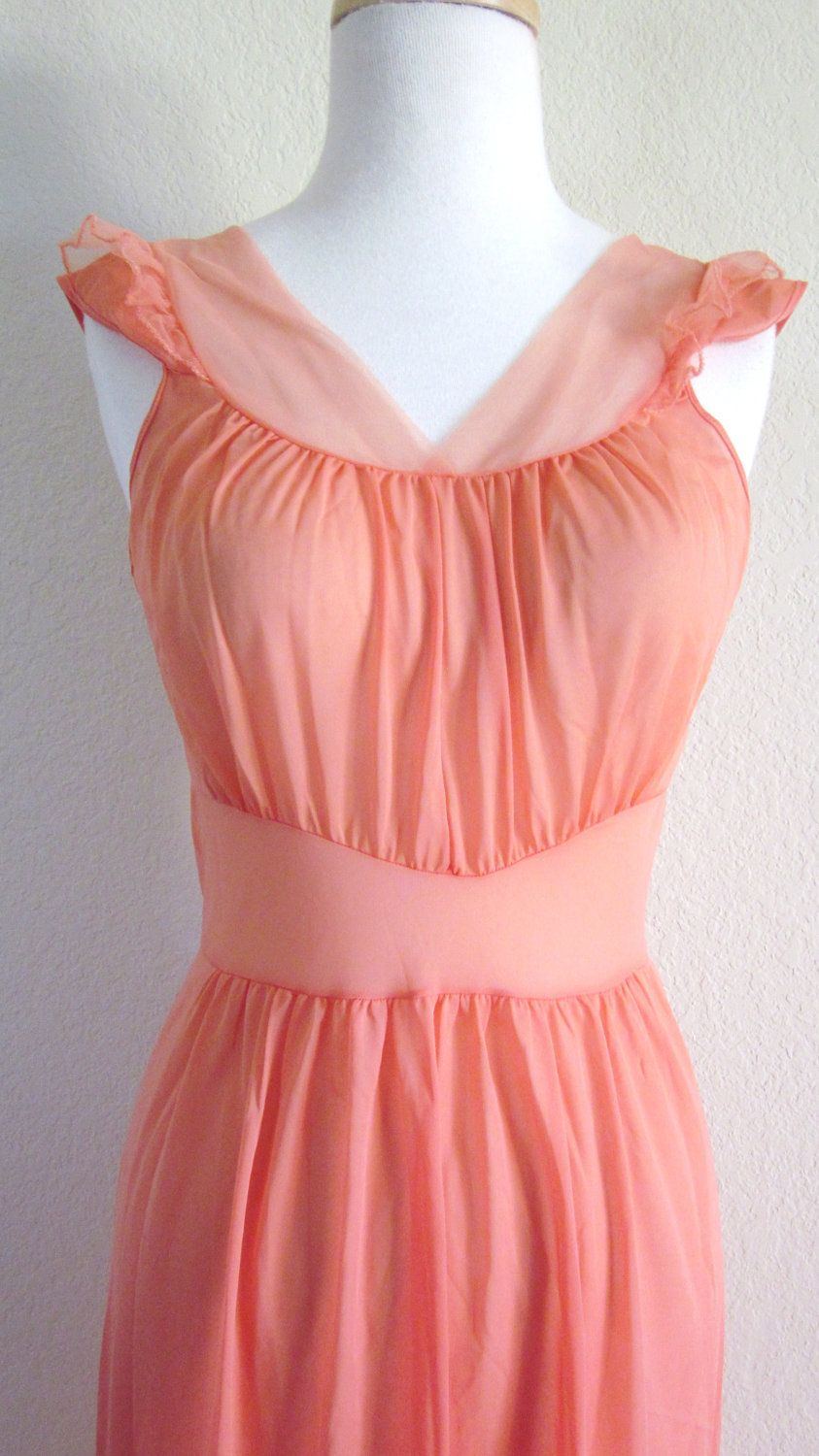 Peach-Tangerine-Nylon-Negligee-Ruffled Nylon Negligee-Peach Negligee ...