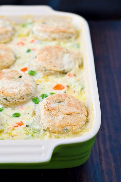 Chicken Pot Pie with Cream Cheese and Chive Biscuits.