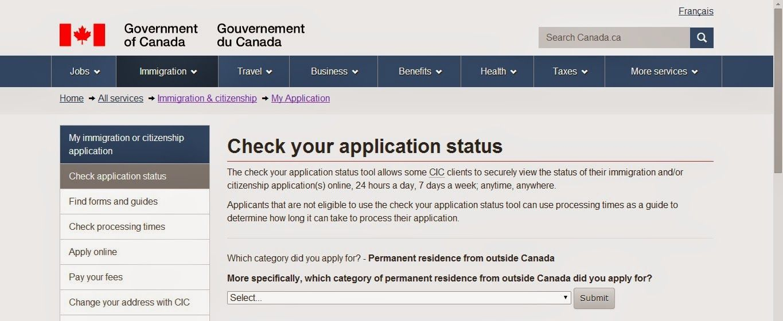 canadian visa application status
