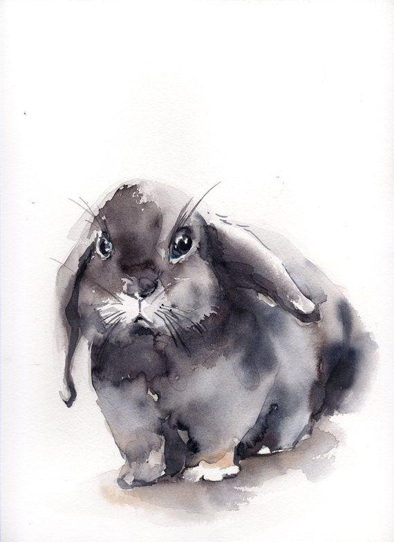 Bunny Watercolor Painting Original Watercolor Painting Pet
