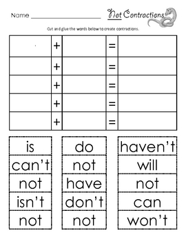 Not Contractions cut and paste | Equation, Student and Activities