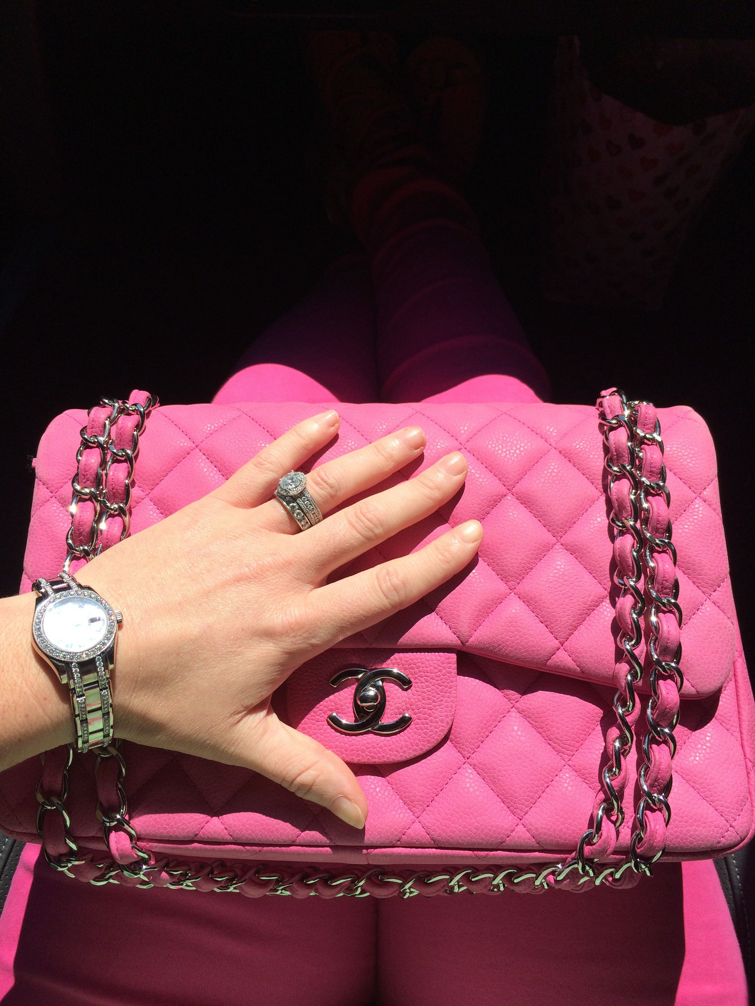 Hot Pink Chanel Classic Jumbo Flap