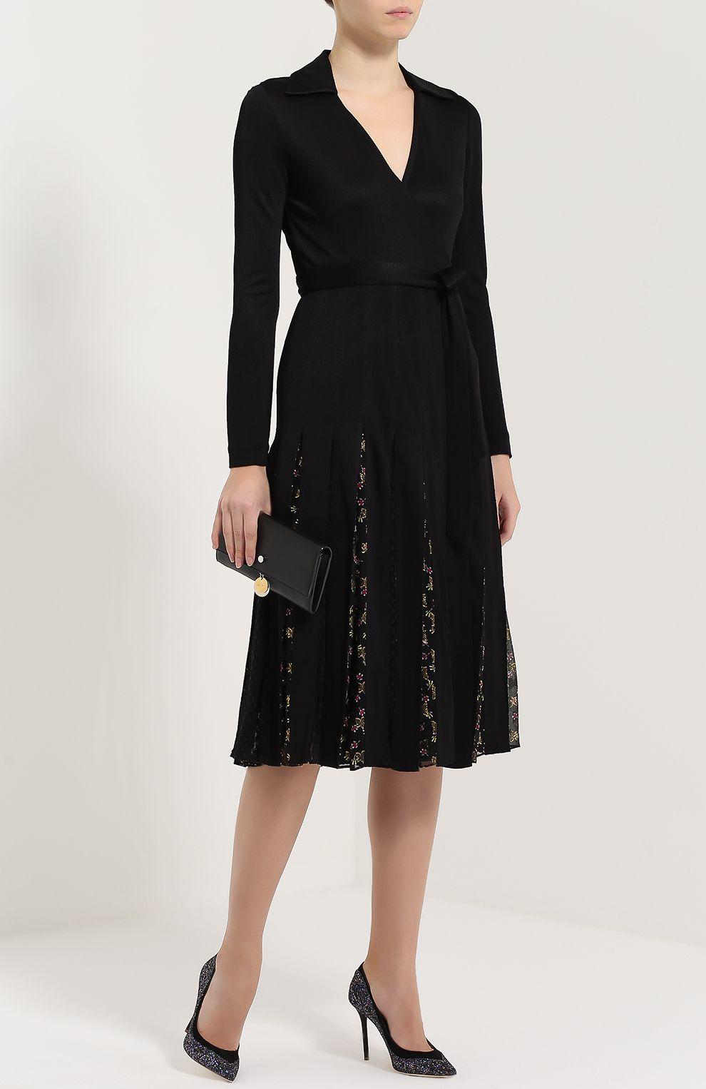 59815eb83d8 Женское чёрное шелковое платье с запахом и поясом Diane Von Furstenberg