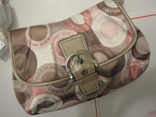 NWT Brand New Coach F18420 Pink Tan Soho Snaphead Flap Shoulder Handbag *Free Shipping*