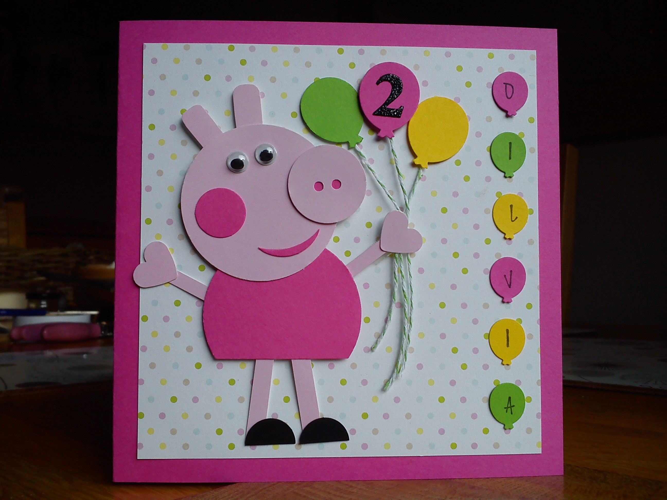 Handmade Peppa Pig birthday card I made for my friends – Personalised Kids Birthday Cards