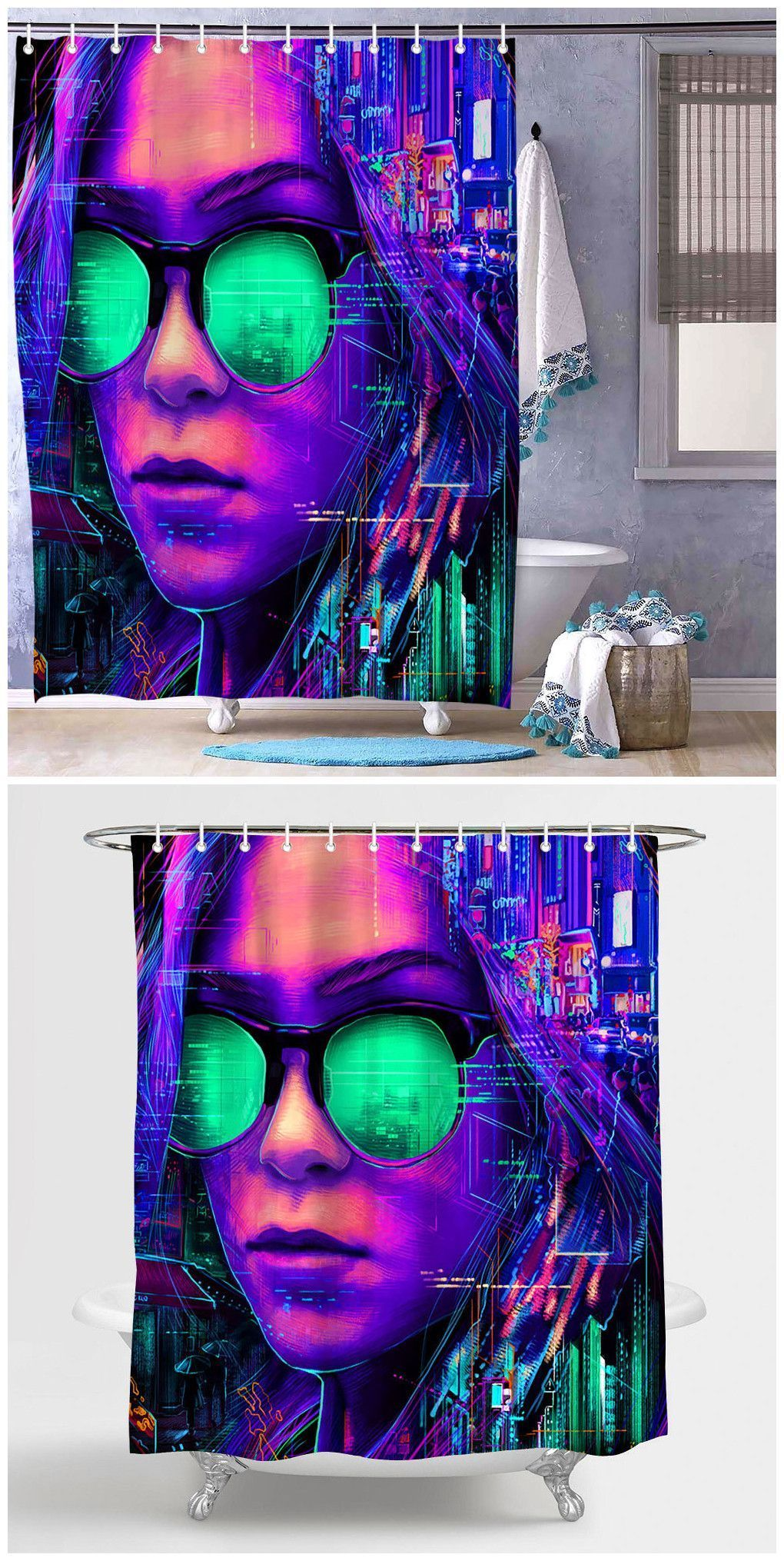Electronic Girl Print Shower Curtain In 2019 Bedroom Decor Diy