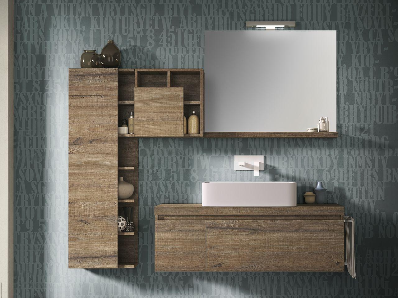 Mobile bagno qubo 120 cm sherwood con toppino per lavabo