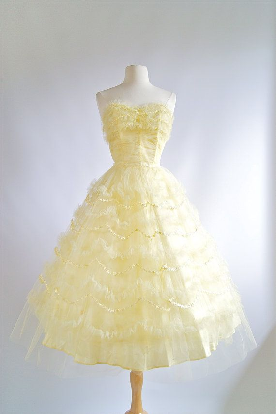 f9827aac039 1950 s Prom Dress Vintage 50s Yellow Tulle Prom by xtabayvintage ...