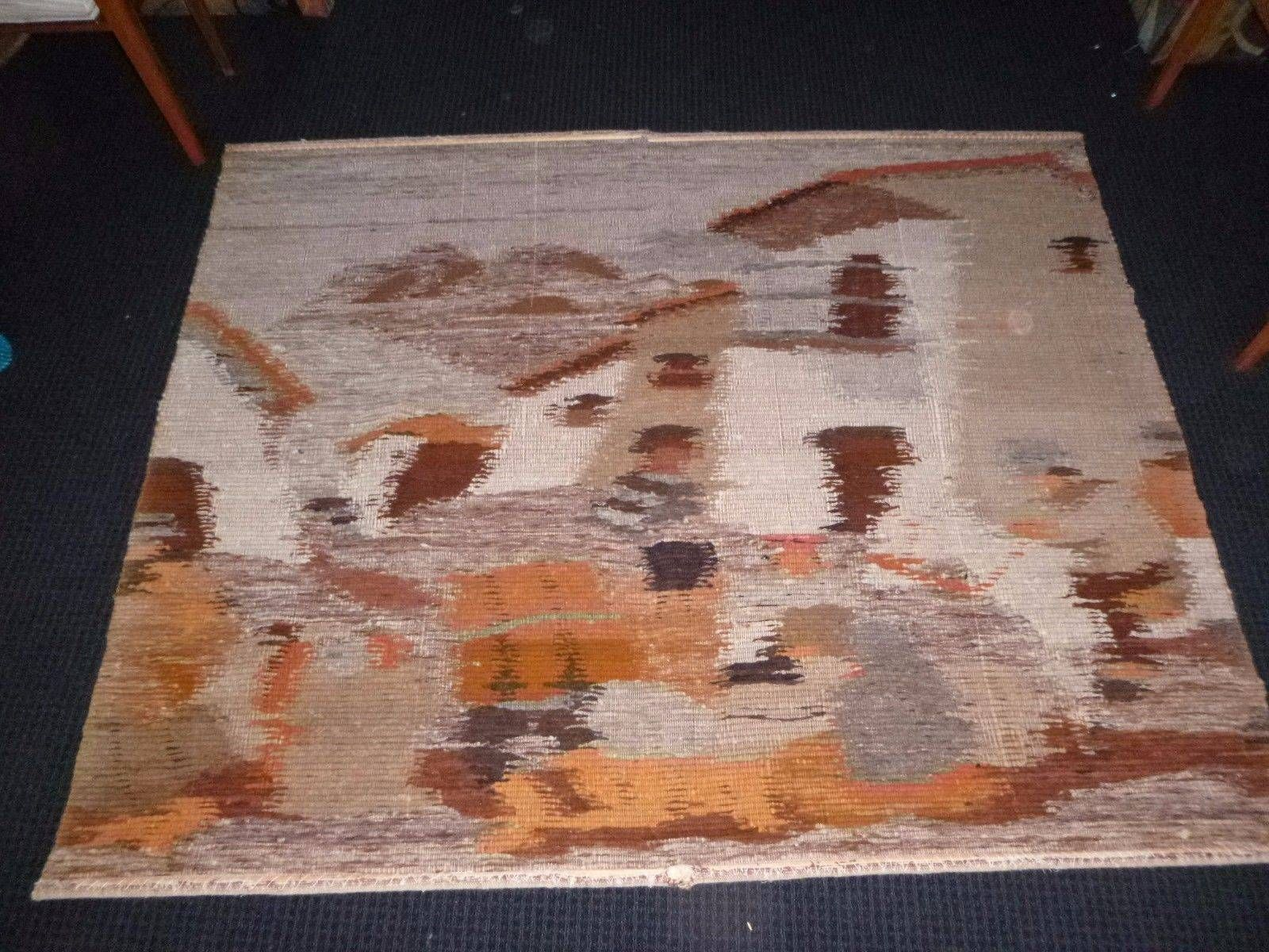Cool vtg mid century s textured fiber textile wall artwork hanging