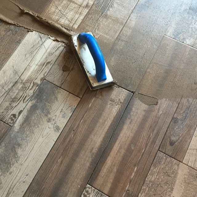 "Grouting the 6x24 Marazzi ""Montagna"" Weathered Gray wood look plank tile on  the… - Grouting The 6x24 Marazzi ""Montagna"" Weathered Gray Wood Look"