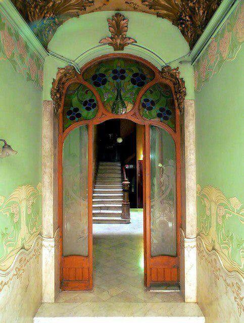 art nouveau entrance hall from late 1800s depicting a green floral decorative design both on. Black Bedroom Furniture Sets. Home Design Ideas