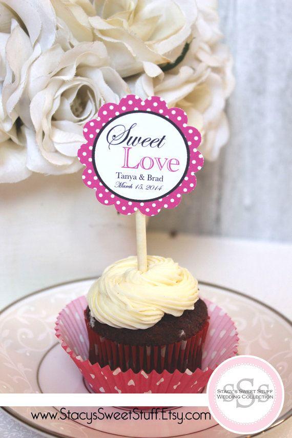 Wedding Cupcake Toppers Sweet Love Custom DIY by StacysSweetStuff